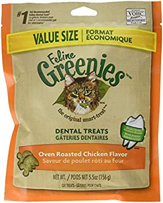 FELINE GREENIES Natural Dental Care Cat Treats Oven Roasted Chicken Flavor, 5.5 oz. Pack