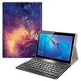 Fintie Funda con Teclado Español Ñ para Huawei MediaPad T3 10 - Carcasa SlimShell con Soporte y Teclado Español Bluetooth Inalámbrico Magnético Desmontable, Galaxia