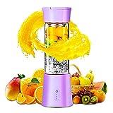 Batidora Portatil USB Recargable, Extractor de Jugos para Frutas y Verduras, Exprimidor Electrico Zumo Mini Limpieza Fácil Vaso Taza, Botella Licuadora Pequeña para Comida Bebé Leche Smoothies Púrpura