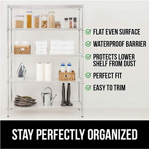 GORILLA GRIP Heavy Duty Premium36 x 18 InchWire Shelf Liners, Set of 4, Value Pack, Waterproof, Plastic Liner for Wired Metal Rack Shelving and Cabinets Shelves, Kitchen, Garage, Clear Frosted
