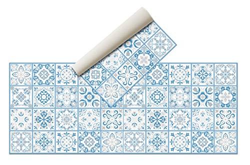 Alfombra Vinílica Hidráulica (200 x 80 cm, Azul )- Distintos Colores y tamaños - Alfombra Cocina- Alfombra baño - Alfombra Comedor Antideslizante - Alfombra Dormitorio - Esponjosa y Suelo PVC…