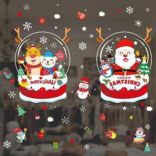 SDJ Kerstmis Ornamenten Sticker Venster Sticker Glazen Deur Rozet Ornamenten Sneeuw Scene Venster Verwijderde Blooms Hanger (Twee Sets)