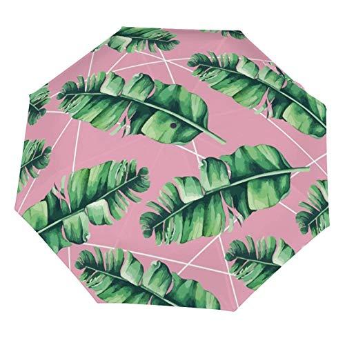 Paraguas de lluvia manual plegable, diseño de hojas de palmera verde, rosa, tropical, resistente al sol, ligero, plegable (interior de vinilo)