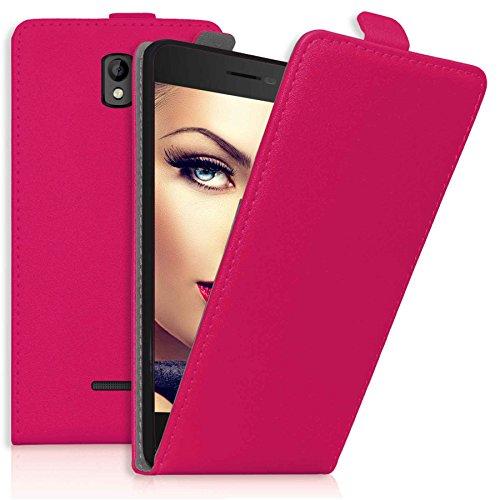 mtb more energy® Flip-Hülle Tasche für Coolpad Porto (E560, 4.7'') - Hot Pink - Kunstleder - Schutz-Tasche Cover Hülle