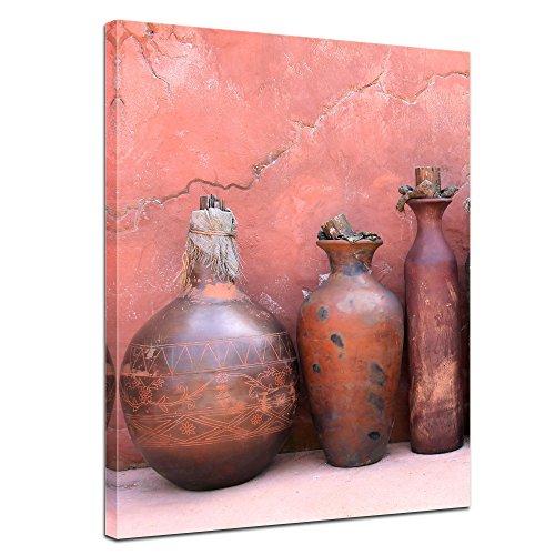 Wandbild - mediterrane Tongefäße - Bild auf Leinwand 60 x 80 cm - Leinwandbilder Bilder als Leinwanddruck Städte & Kulturen Mittelmeer - Amphoren und Krüge