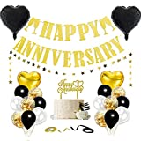 Happy Anniversary Decorations, Happy Wedding Anniversary Decorations with Banner, Cake Topper, Glitter Hanging, Ribbon and Balloons for All Ages' Anniversary Party Decorations (Black/Gold)