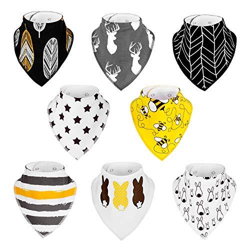 ZWOOS 8 Piezas Baberos de bebé, Baberos de algodón Súper Suaves con Botón a presión, Altamente absorbente, No se deforma (Set 2)