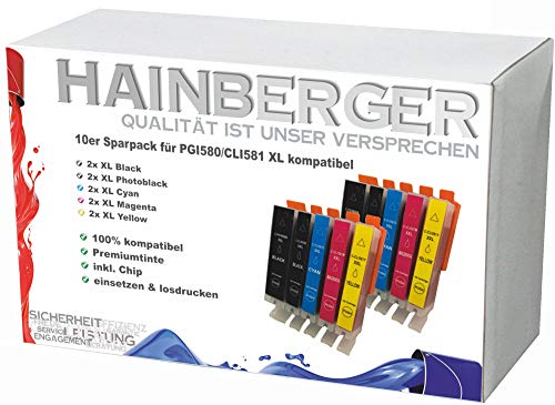 10x Hainberger XXL Patronen kompatibel zu Canon PGI580 CLI581 Pixma TR8550 TS6150 TS6151 TS6250 TS6351 TS8150 TS8151 TS8152 TS8250 TS9150 TS9155 TS9550 TR7550 PGI-580 CLI-581