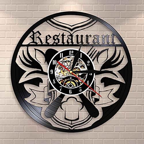 Tbqevc Restaurante Arte Reloj de Pared Cocina Reloj de Vinilo Comer Reloj de Pared Mural Chef Gourmet Regalo Cuchillo y Tenedor Reloj de Tiempo 12 Pulgadas