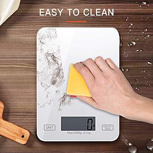 Inroserm Bilancia da Cucina Digitale, 11 lb   5 kg Bilancia Elettronica per Pesare il Cibo, Controllo Smart Touch, LCD Trasparente, Pannello in Vetro Temperato, Unità Multiple, Funzione Tara