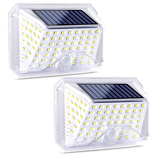 ROVLAK LED Solare Luci Esterno Super Luminoso Impermeabile Notte Lampada Wireless Movimento Sensore Sicurezza Luce con 270° Ampio Angolo Parete Luci per Giardino Cantiere Recinto Garage Fronte Porta