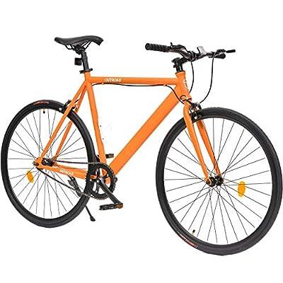 Max4out Fixed Gear Bikes Single Speed Urban Fixie Road Bike 700cc Track Bicycle, Orange