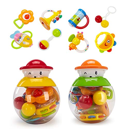 GOODWAY Rattle and Teether Baby Toys 3-6 Months, 8 pcs Grab, Shaker and Spin Rattle Toy, Sensory and Fine Motor Skill Development Gifts Set for 6, 9, 12 Month Newborn, Infant, Boy, Girl