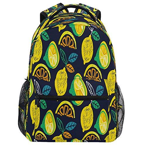 Oarencol Summer Citrus Lemon Mochila acuarela Fruta Bookbag Daypack Viajes Senderismo Camping Escuela Portátil Bolsa