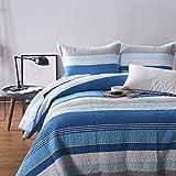 Beddingleer Tagesdecke Patchwork 230x250 cm Blau Streifen Bettüberwurf Baumwolle Gesteppt Bettwäsche für Doppelbett Sofa Couch Überwurf Decke Winterdecke