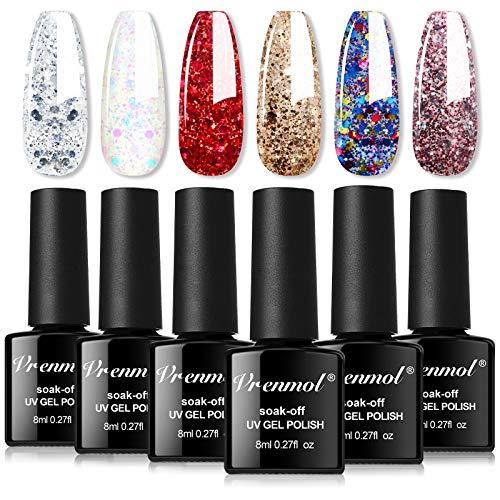 Vrenmol Glitter Gel Nail Polish Sparkly Diamond Shiny Style Nail Gel Set Soak Off UV LED Nail Lacquer Nail Art Manicure for Lady-6pcs 8ml