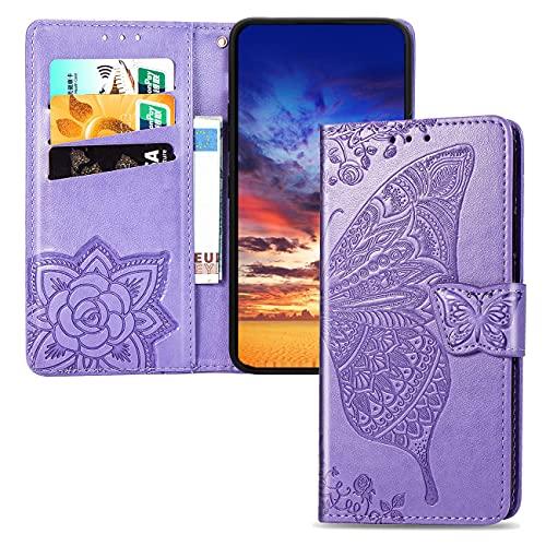 Compatible con Xiaomi A2 Lite PU Cartera de Cuero Funda con Soporte para Tarjeta Soporte Magnético con Tapa Funda Protectora móvil para Xiaomi A2 Lite/Redmi 6 Pro Light Purple SD