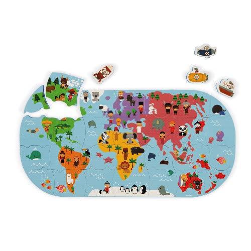 Janod - Mapa del Mundo de Baño - Juguete de Baño para Niños Pequeños - Manipulación y Destreza - A partir de 3Años, J04719