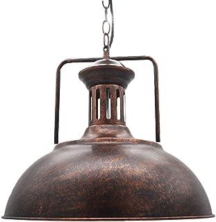 Huahan Haituo Iluminación de la lámpara de techo colgante de sombra de metal antiguo industrial 1 Colgante de techo de luz UFO (Oro de barrido, 42cm)