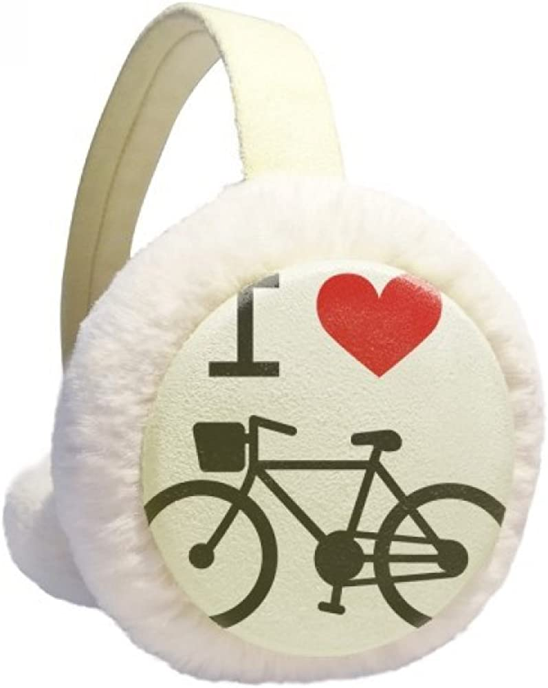 I Love Red Heart Bicycle Pattern Winter Ear Warmer Cable Knit Furry Fleece Earmuff Outdoor