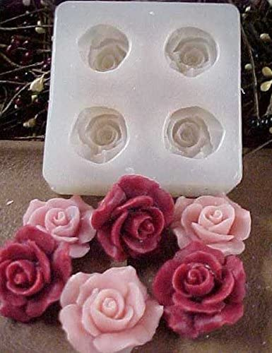 Elegant Louisville-Jefferson County Mall Rose Embeds National products 4 Cavity Food-Soap-Candle- Silicone 773 Mold
