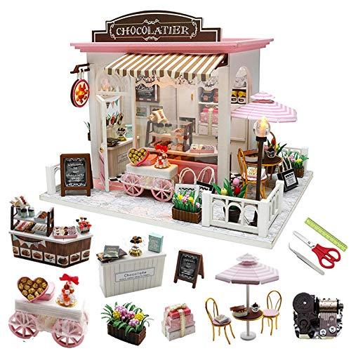 SJXM DIY Casas de muñecas Kit de construcción en miniatura Kits de construcción de muñecas Muebles de casa Café Modelo de madera Pequeña casa Juguetes
