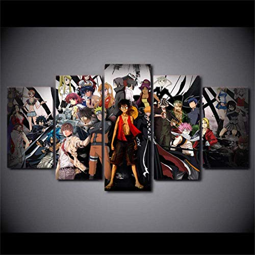 Refosian 5 Wall Art Paintings (Autoadesivo Canv200X100Cm Canvas Picture Art 5 Panels The Character of One Piece Painting Living Room Home Decor Anime Poster - Usato per Famiglia Soggiorno Letto