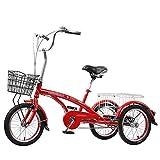 Triciclo para Adultos 16in Three Wheel Cruiser Bike Single Speed Adult Tricycle con Cesta De Compras para Recreación, Compras, Picnics Ejercicio Mujeres Mujeres(Color:Rojo)