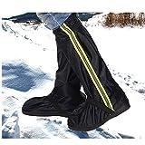 Lindhb Cubrezapatos Impermeable A Prueba de Viento Riding Oxford Cloth Rain Boots Set Suelas Antideslizantes Senderismo Hombres Mujeres Zapatos Set Moto Nieve (Color : Negro, tamaño : XXL)