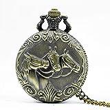 LYMUP Reloj de Bolsillo, Zodiaco 12 Bronce Dos Caballos Patrón de Carrera Hueco Cuarzo Collar Colgante para Mujeres Hombres Regalos,Vapor (Color : Bronze)