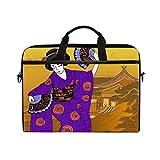 GIGIJY Japón Paisaje Geisha Mujer Bolsa de lona Maletín 13 en 13,3 en 14 en 15 pulgadas para niños, niñas, mujeres y hombres