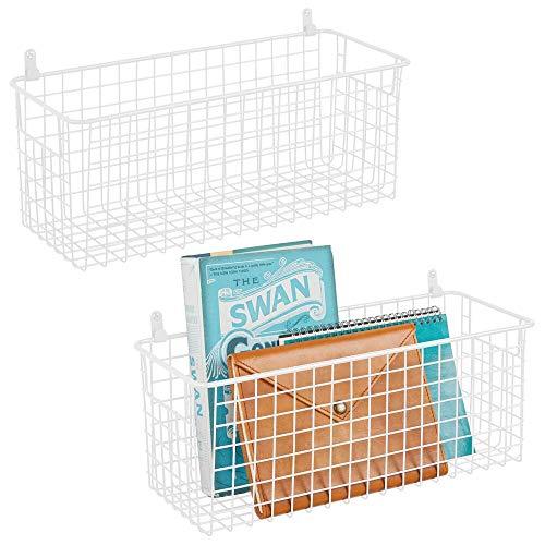 mDesign Estantes de pared de metal – Estantería de rejilla mediana para pasillo, dormitorio, etc. – Organizador de cartas, carteras, gafas de sol o accesorios de baño – Juego de 2 – blanco