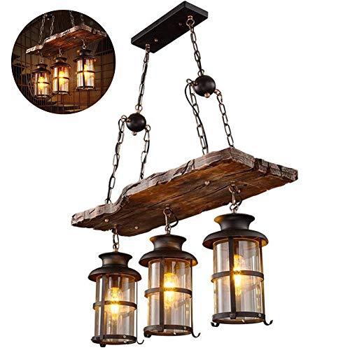 Edison Led-boot houten kandelaar met 3 draden, retro industriële wind, plafondlamp, 70 x 100 cm, voor keuken, grid, café, woonkamer, restaurants
