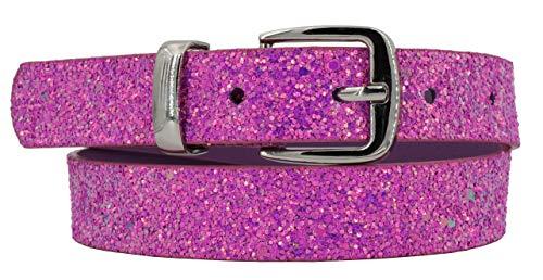EANAGO Glitzer-Kindergürtel 'Eiskristall pink' für Mädchen (Kindergarten- und Grundschulkinder, 5-10 Jahre, Hüftumfang 57-72 cm), Gürtelmaß 65 cm