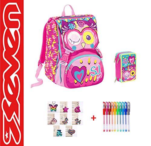 Seven. SJ Gang - Mochila escolar extensible con sistema Flip System, para niña, diseño de búho y corazón, color fucsia + estuche de 3 pisos completo + paquete de 10 bolígrafos de colores + llavero brillante