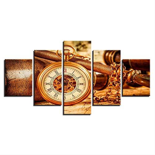DGGDVP Cuadros de Lienzo Decoración para el hogar Impresiones en HD 5 Piezas Reloj Espacial Vintage Pinturas Carteles Retro para Sala de Estar Arte de Pared Tamaño 1 Sin Marco