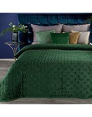 Eurofirany Tweezijdige sprei 220X240 Bedsprei 170x210 quilt RIA velours fluwelen deken (RIA 3 donkergroen, 170 x 210 cm)