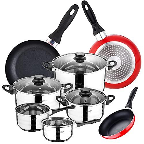 San Ignacio Juego de Batería de cocina de 8 piezas + 3 sartenes 16/20/24 cm SAN IGNACIO