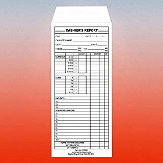 Cashier Depot MT235 Cashier's Report Envelope, 500/Box, 24lb, White