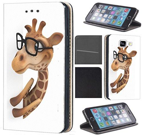 Preisvergleich Produktbild CoverFix Premium Hülle für Samsung Galaxy S7 Edge G935F Flip Cover Schutzhülle Kunstleder Flip Case Motiv (1214 Giraffe Animiert Braun Weiß)