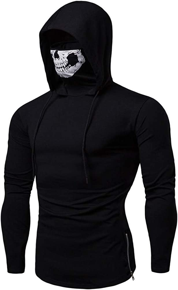 WUAI-Men Hipster Masks Hooded Sweatshirt Novelty Skull Printed Casual Long Sleeve Muscle Training Outdoor Pullover Jackets