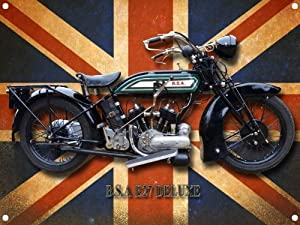 BSA E27 DELUXE MOTORCYCLE Metal Sign with enamelled finish