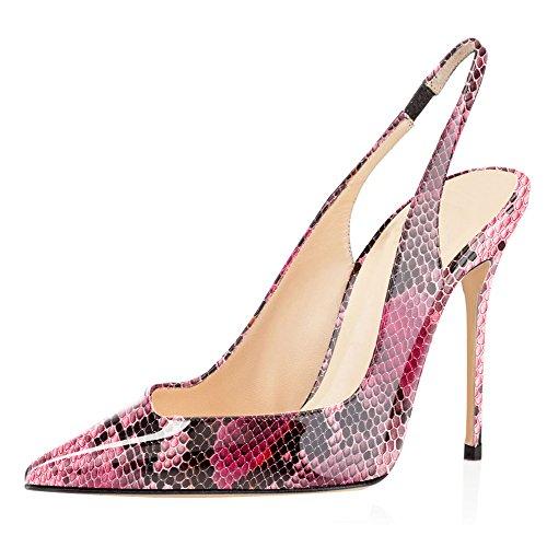 EDEFS Damen Slingback Pumps Spitze Zehen High Heels Bequeme Schuhe Python Red Größe EU37