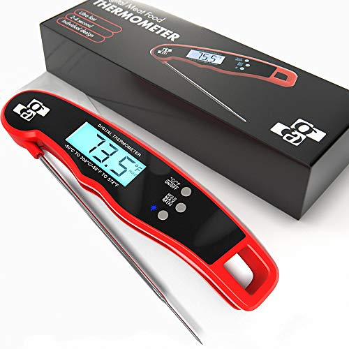 Meat Thermometer Digital Instant Read - Waterproof Ultra Fast Thermometer with Backlight & Calibration - Kitchen Cooking Food Candy Thermometer with Backlight for Fry BBQ Oil Deep Fry Smoker