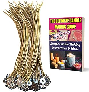 CozYours 100 pcs 20cm Organic Hemp Candle Wicks; 100% Natural Beeswax; PRE-Waxed, Tabbed, Candle Wicks for Candle Making. ...