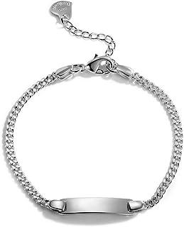 Dankadi Classic Fashion Men 100% 925 Sterling Silver Bracelet Punk Style Cuban Chain Solid Silver 6.5 MM/3 MM 7-9 inches B...