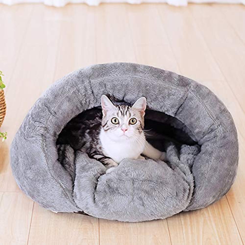 MXD Cat Litter Closed Removable Cat Sleeping Bag Pet Cat Supplies Cat House Cat House Kitten Nest Winter Warm (Size   S)