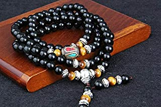 Men Handcrafted and Well-designed Nature Crystal 108 Bead Layers Tiger Eye Bangle Obsidian Silver Bracelet