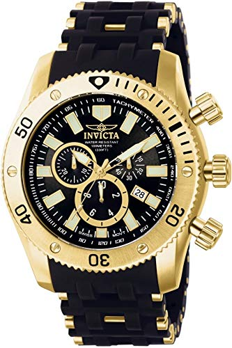 Invicta Sea Spider Men's 0140 Collection Gold Ion-Plated, Black 18k Polyurethane Watch