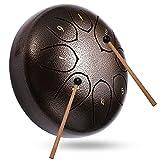 Topnaca Tambor de Lengüetas 8 Notas 6 Pulgadas, Steel Tongue Drum Tambor de la Lengua Instrumento de Percusión con Bolsa De Transporte, para Meditación, Yoga, Zazen, Curación de Sonido